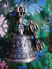 "EXQUISITE DETAIL & SOUND TIBETAN BUDDHIST RITUAL 7.25"" BELL & 9 PRONG DORJE SET"