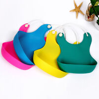 Durable Cute Kid Infant Bibs Baby Solid Silicone Waterproof Saliva Dripping Bibs