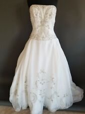 Eve of Milady Wedding Dress Gown Ballgown White Beaded Organza w/ Train Size 12