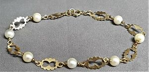 9ct Gold & Pearl Bracelet. Hallmarked. Ref:xiodmx.
