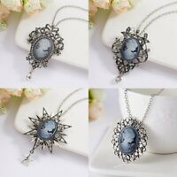 Vintage Cameo Crystal Rhinestone Pendant Necklace Silver Chain Women Jewellery