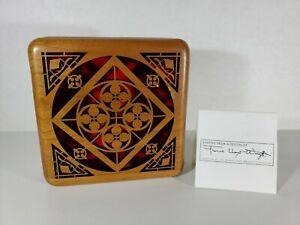 Frank Lloyd Jewelry Trinket Box Certified Design Cherry Wood Oak Park 1995