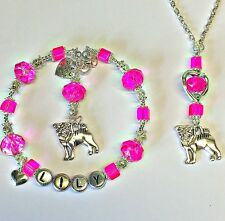 PERSONALISED PUG DOG LOVER gift set CRYSTAL CHARM BRACELET & NECKLACE : BIRTHDAY