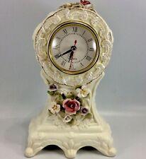 Porcelain Mantel Clock Dolgencorp Quartz 3D Flowers