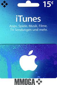 iTunes 15€ EUR Gutschein Key 15 Euro Apple Guthaben Code f. DE Deutsches Konto*