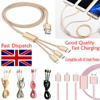 3 in1 USB Multi Charger Charging Cable For iPhone Samsumg HTC LG 1M