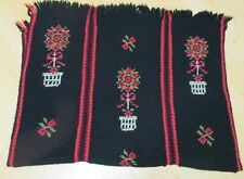 Vintage Hand Embroidered Floral Crochet Knit Afghan/Throw Black Red