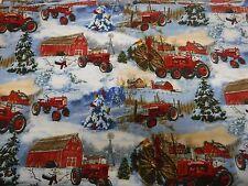 International Harvester Farmall Snowmen and Tractor Scenic Allover Print Fabric