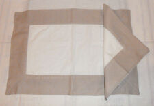 WILLIAMS SONOMA LINEN FLAX & WHITE 10  PLACEMAT & NAPKIN  DINNER SIZE SETS NEW