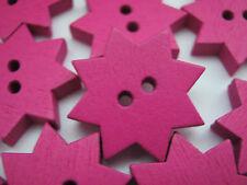 """10 Rose Star Boutons 20 mm (6/8"""") Fuchsia Enfants Vêtements Bois Couture Boutons"""