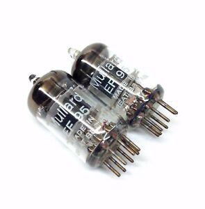 Matched Pair EF95  M8100  Ring Getter  NOS Mullard UK Valve Tubes