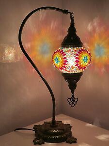 Multi Red Turkish Colour Moroccan Mosaic Handmade Glass Light Desk Table Lamp