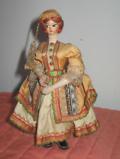 """Vintage 7"""" Costumed Greek Woman Doll Plastic Body Painted Cloth Face"""