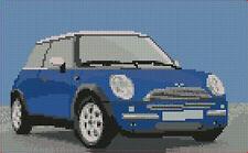 "Mini Cooper Dark Blue Counted Cross Stitch Kit 10""x 6"""