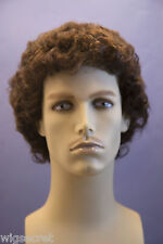 Chestnut Brown Brunette Curly Men Wig