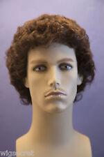 Chestnut Brown Brunette Curly Men Wig