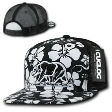 Black California Republic Cali Bear Floral Trucker Mesh 5 Panel Snapback Cap Hat