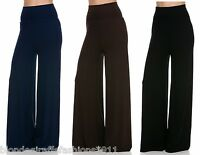 Foldover Double Wide High Waist Long Leg Palazzo Pants/Slacks S M L