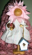 Pink FELT & WOOD Country EASTER Springtime FLOWER FAIRY Spindle DOLL Figurine