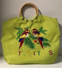 St. Kitts West Indies Tote Bag w/2 Parrots Lime Green Zippered Tote Bag