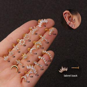 Zircon Stone Cartilage Earring Conch Tragus Helix Cartilage Piercing Ear Stud#H