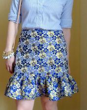 ASOS floral jacquard ruffle tiered flounce SKIRT 2/4/6/S navy/blue/gold/metallic