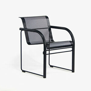 1980 Richard Shultz for Knoll Prototype Flat Matte Black Outdoor Dining Armchair