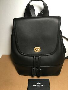 NWT Coach 3334 Turnlock Backpack in black Glovetanned Leather