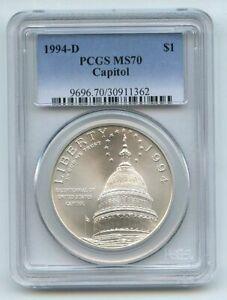 1994 D $1 Capitol Silver Commemorative Dollar PCGS MS70