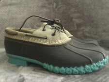 LL Bean Low Duck Shoes Rubber Gray Navy Teal Womens 9