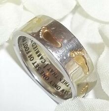 New Footprints in the Sand Ring Prayer Faith Stainless Steel Two Tone Sz 6