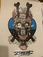 "Zorlac Skateboard Flaming Skull  Huge 8"" X 11"" Large Sticker Clear background"