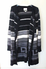 NWT Cynthia Rowley Cashmere Wool Black White Open Long Nordic Cardigan Sweater M