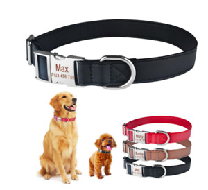 Personalised Dog Leather Collar Custom Name / Number / Text  AU Seller Fast SHIP