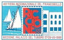 FOGLIETTO ERINNOFILO 1988 RICCIONE 40° FIERA FRANCOBOLLO FIRMATO CUMO