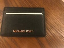 MICHAEL KORS PEBBLE LEATHER CARD HOLDER  BLACK NWT MSRP $48