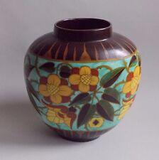 Keramis. Vase ovoïde en céramique à décor de motifs floraux, debut XXe siècle