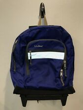 LL Bean Royal Blue Deluxe Rolling Wheels Backpack Book Bag Unisex Youth Kid