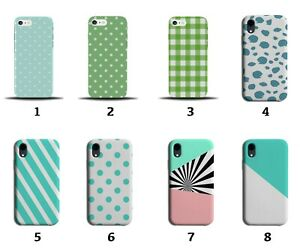 White and Turquoise Green Pattern Phone Case Cover Patterned Design Pink 8141j