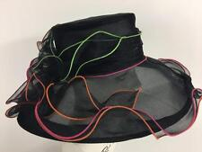 Womens Kentucky Derby Church Picture Hat Wide Brim Ruffle Dramatic Sheer Mystery
