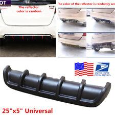 "25""x5"" Matte Black Universal Car Rear Shark Fin Curved Bumper Lip Diffuser Kit"