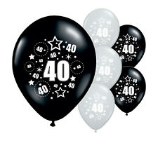 """10 x 40TH BIRTHDAY BLACK AND SILVER 12"""" HELIUM OR AIRFILL BALLOONS (PA)"""