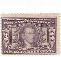 Scott #325 - 3c Violet -James Monroe - Mint Hinged -SCV - $70.00