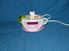Hello Kitty Tea Cup Digital Alarm Clock AM/FM Radio & Night Light