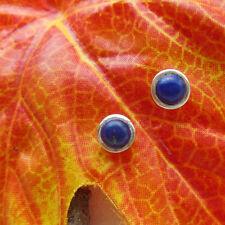 Lapislazuli, rund, blau, schlicht, Ohrringe, Ohrstecker, 925 Sterling Silber neu