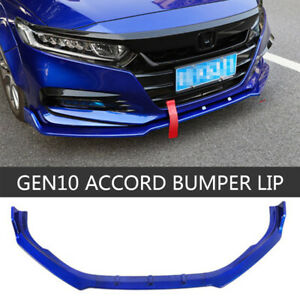 For 2018-2020 HONDA ACCORD SEDAN FRONT BUMPER SPOILER LIP BODY KIT BLUE 3PCS