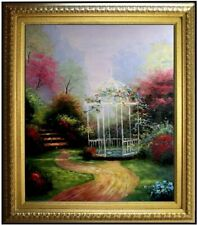 Framed Quality Hand Painted Oil Painting Flowering Garden with Gazebo 20x24in