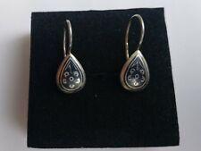 Vintage Soviet Russian 875 silver niello heart-shape dangle earrings