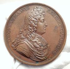 1674 FRANCE Sun King LOUIS XIV Antique 1674 Medal NAVAL VICTORY v DUTCH i75116