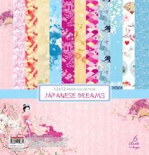 Scrapbooking Papierset Japanese Dreams 6 Blatt Papier 30,48 x30,48 cm blau